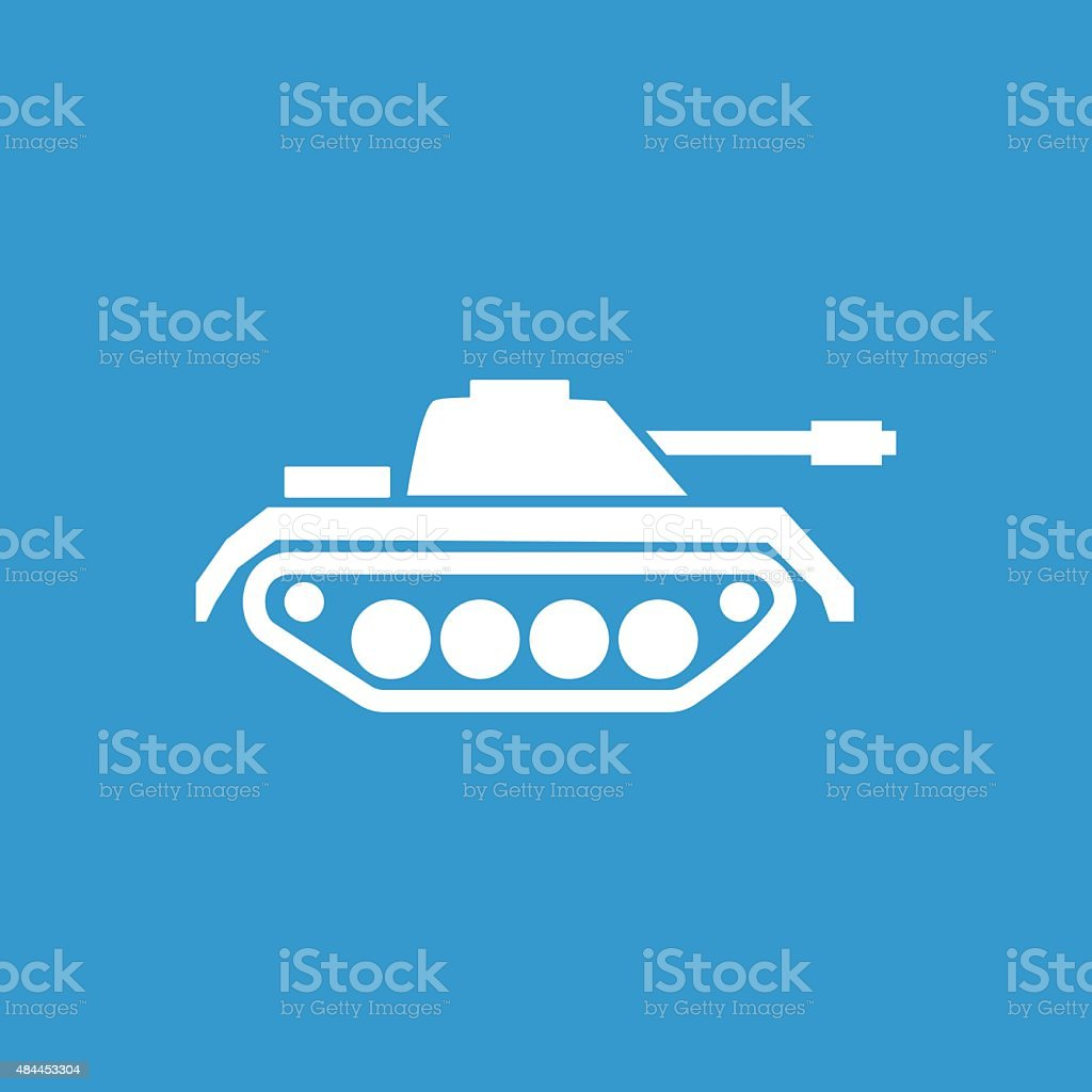 tank outline icon, isolated, white on the blue background vector art illustration