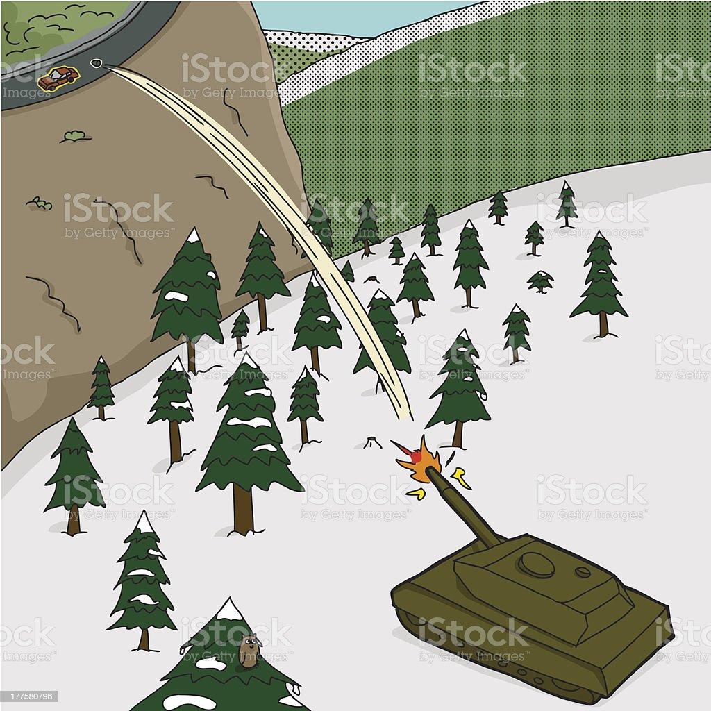 Tank Shooting Car royalty-free stock vector art