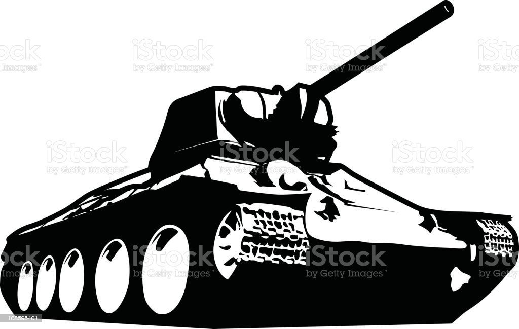 Tank stencil vector art illustration