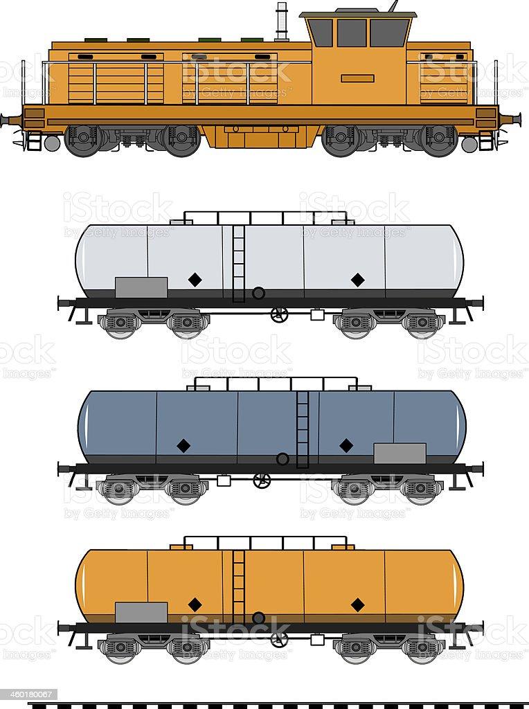 Tank train vector art illustration