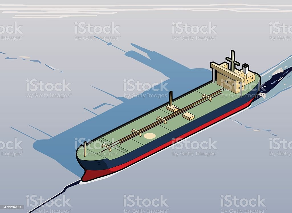 tanker stuck in ice vector art illustration