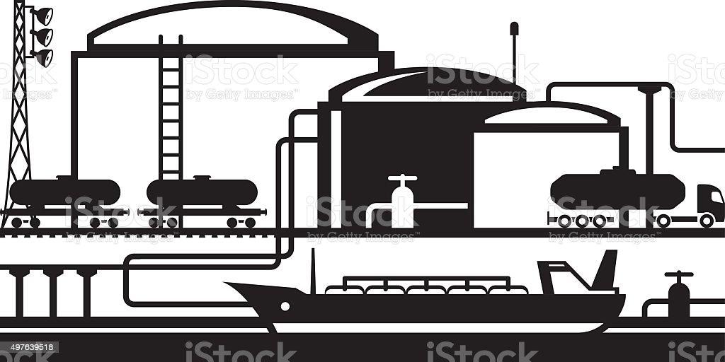 Tanks at oil terminal vector art illustration