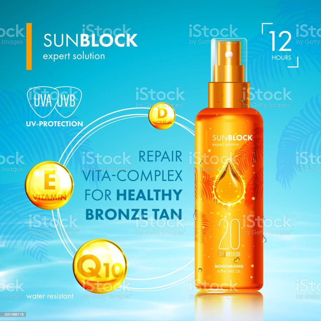 Tanning oil with UV protection and vitamins vector art illustration