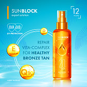 Tanning oil with UV protection and vitamins