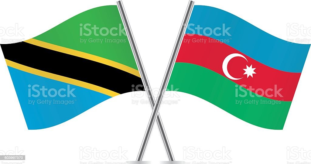 Tanzania and Azerbaijan flags. Vector. vector art illustration