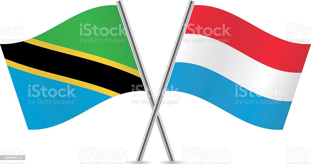 Tanzania and Luxembourg flags. Vector. vector art illustration