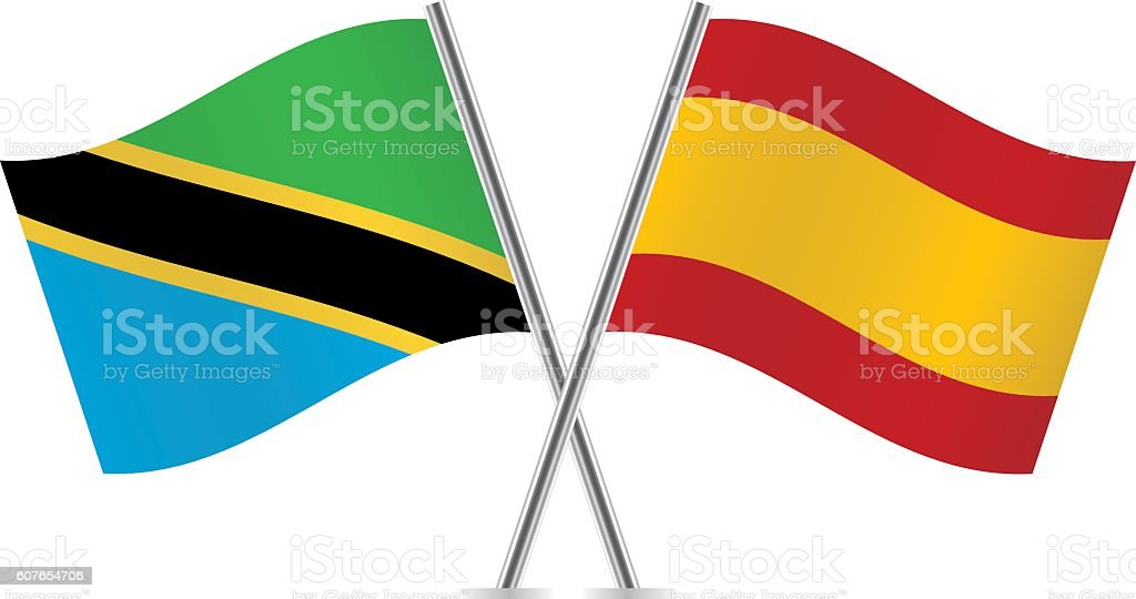 Tanzania and Spain flags. Vector. vector art illustration