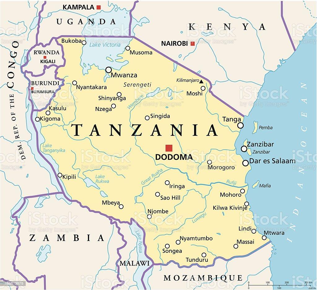 Tanzania Political Map vector art illustration