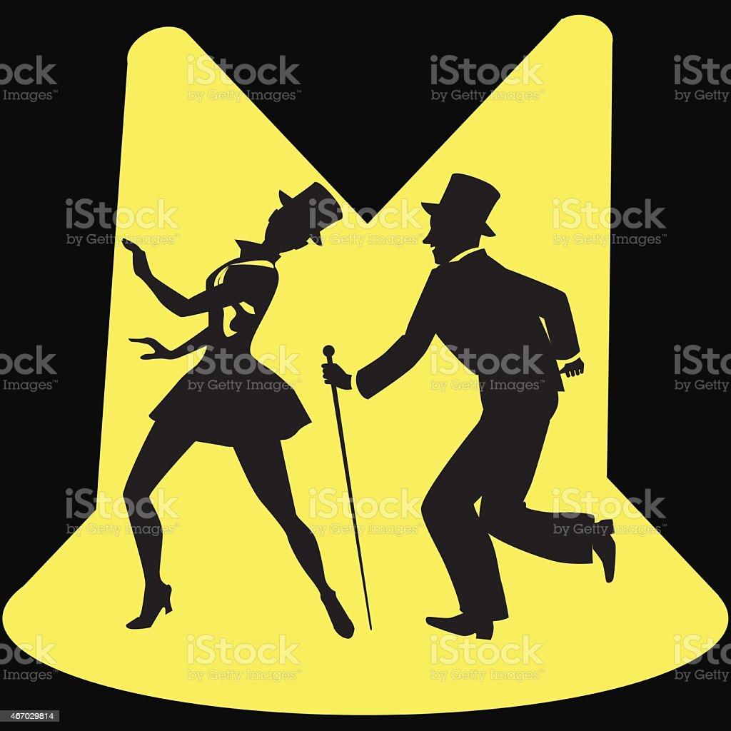 Tap Dancers on stage vector art illustration