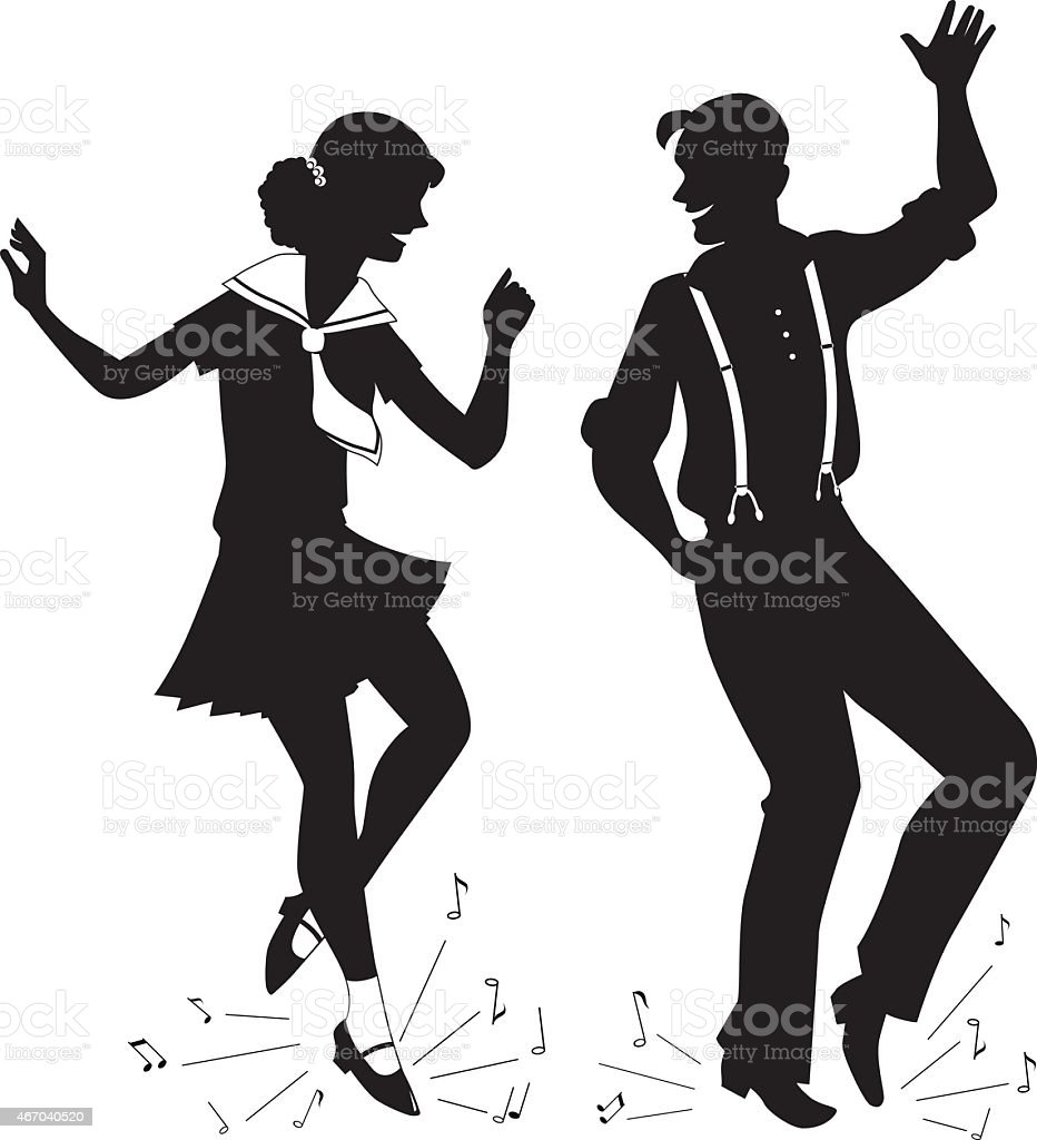 Tap Dancing silhouette vector art illustration