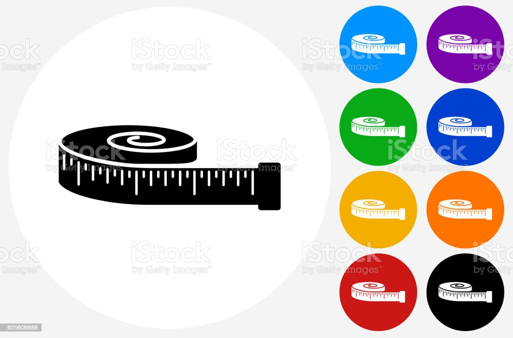 Tape Measure Icon on Flat Color Circle Buttons vector art illustration