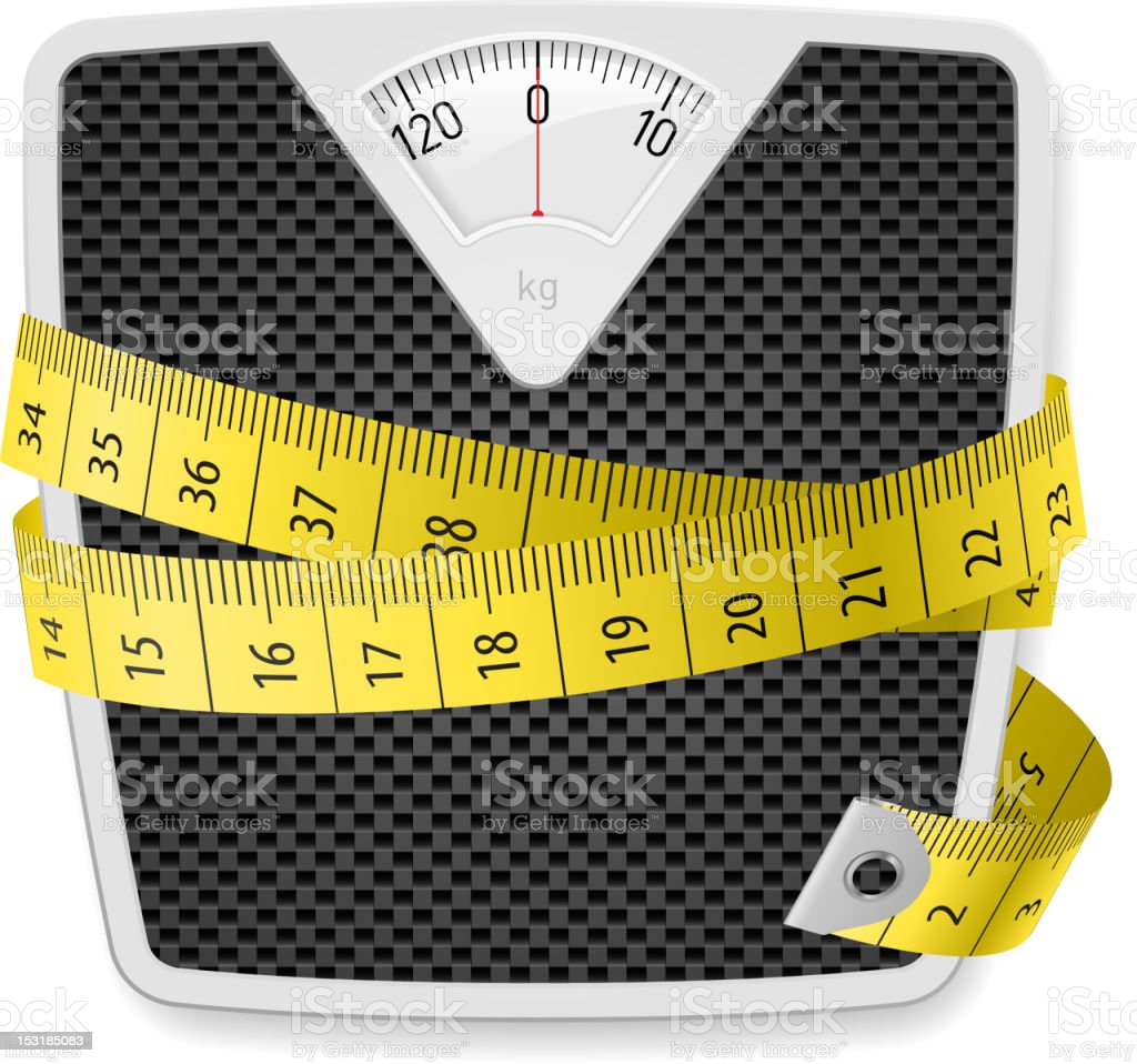 Tape measure wrapped around house scale royalty-free stock vector art