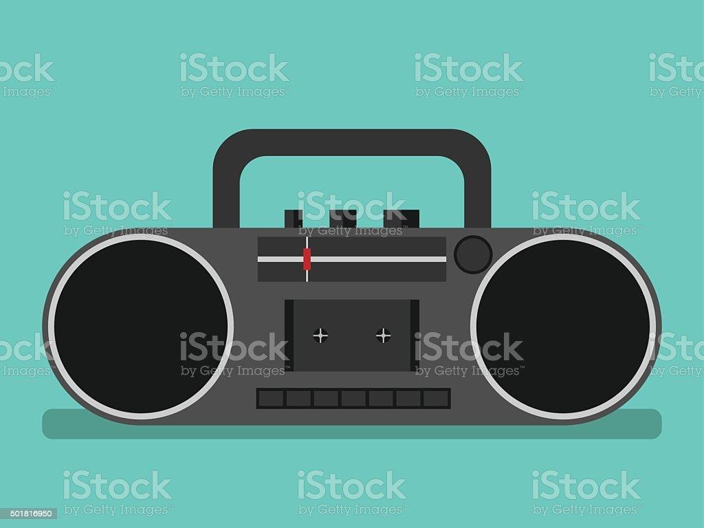 Tape recorder on blue vector art illustration