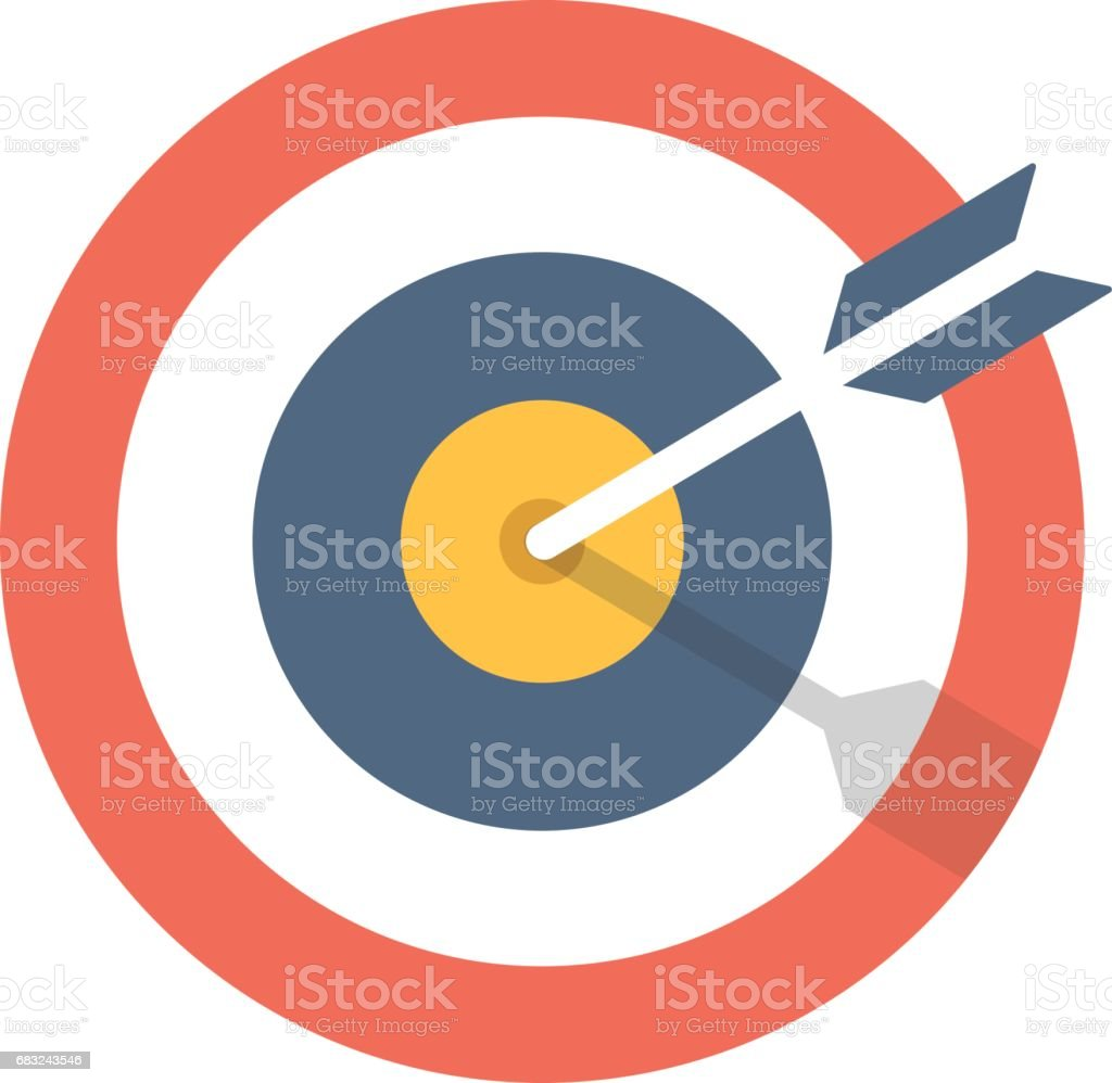 Target and arrow icon. Bullseye symbol. Modern flat design graphic illustration. Vector target and arrow icon vector art illustration