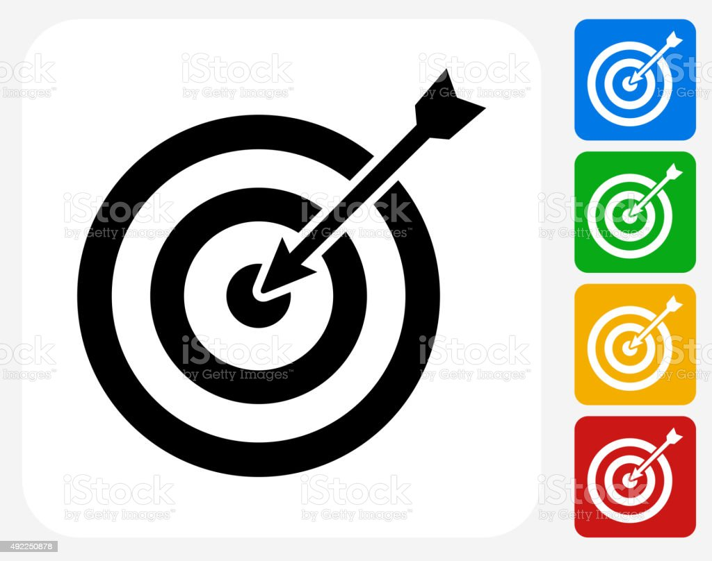Target and Arrow Icon Flat Graphic Design vector art illustration