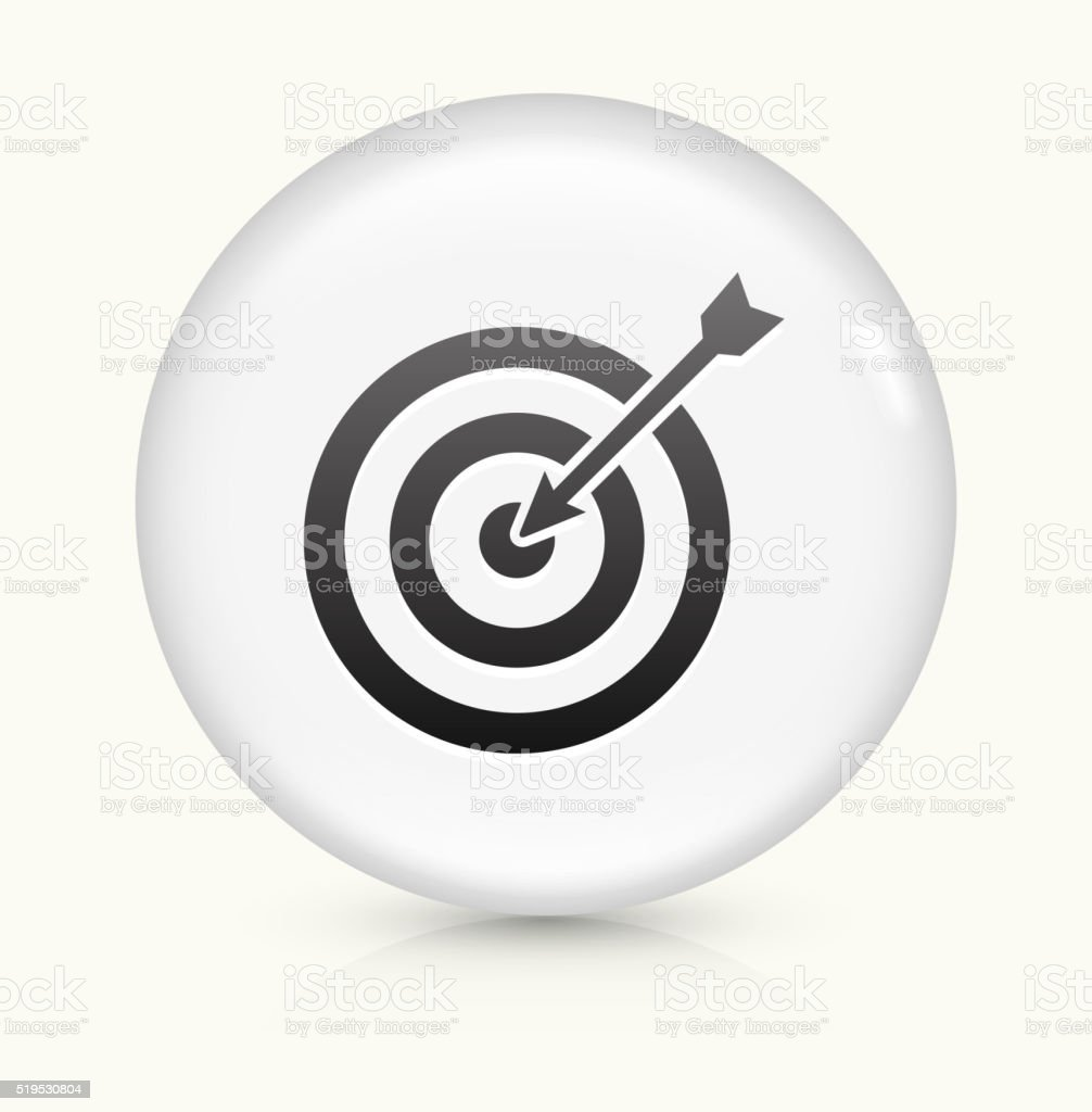 Target and Arrow icon on white round vector button vector art illustration