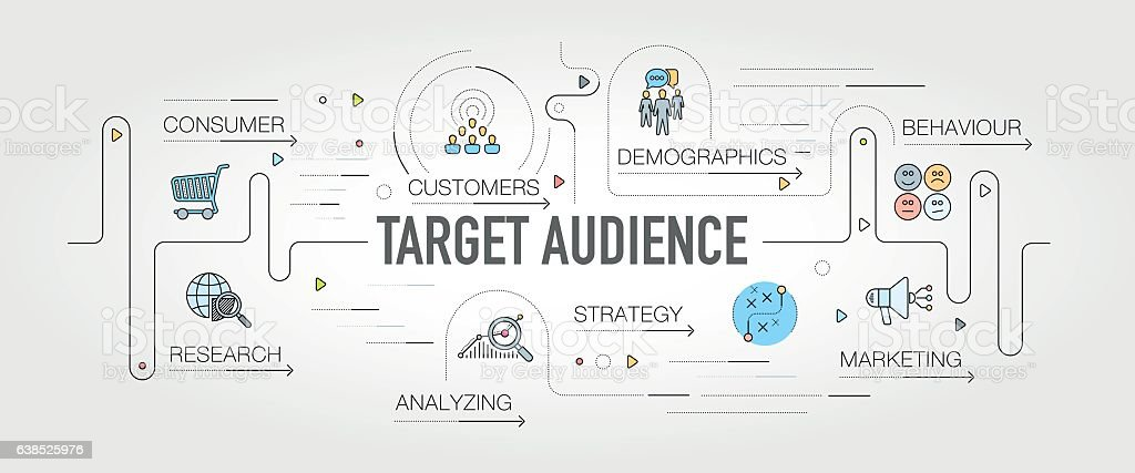 Target Audience banner and icons vector art illustration