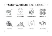 Target Audience keywords with monochrome line icons
