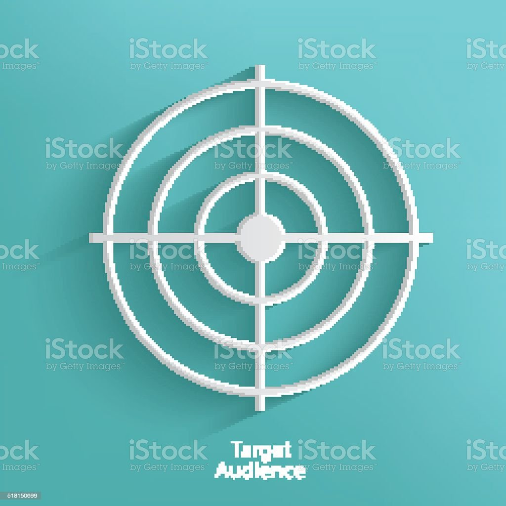 Target audience symbol on blue background,clean vector vector art illustration