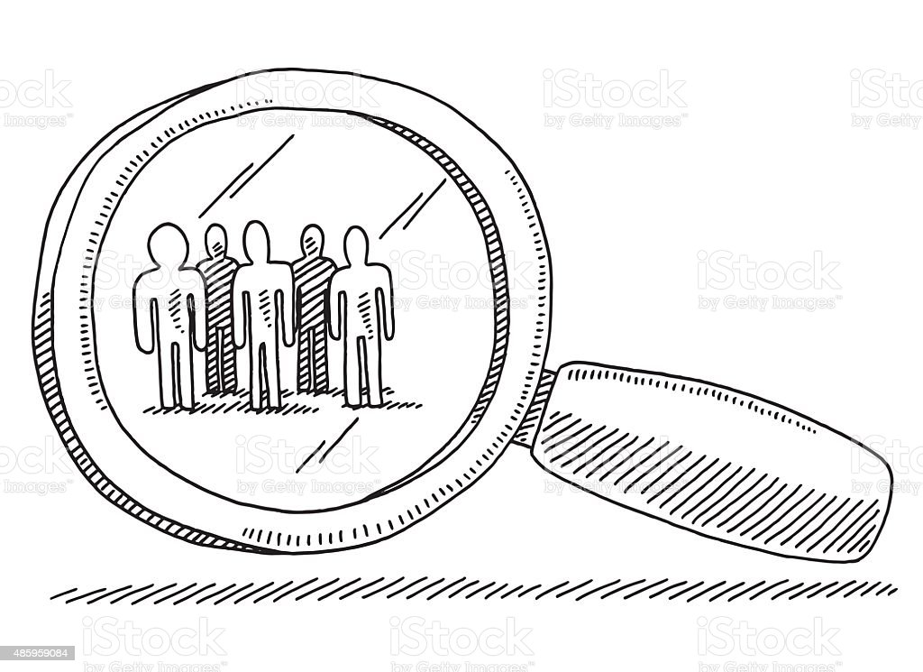 Target Group Of People Magnifying Glass Drawing vector art illustration