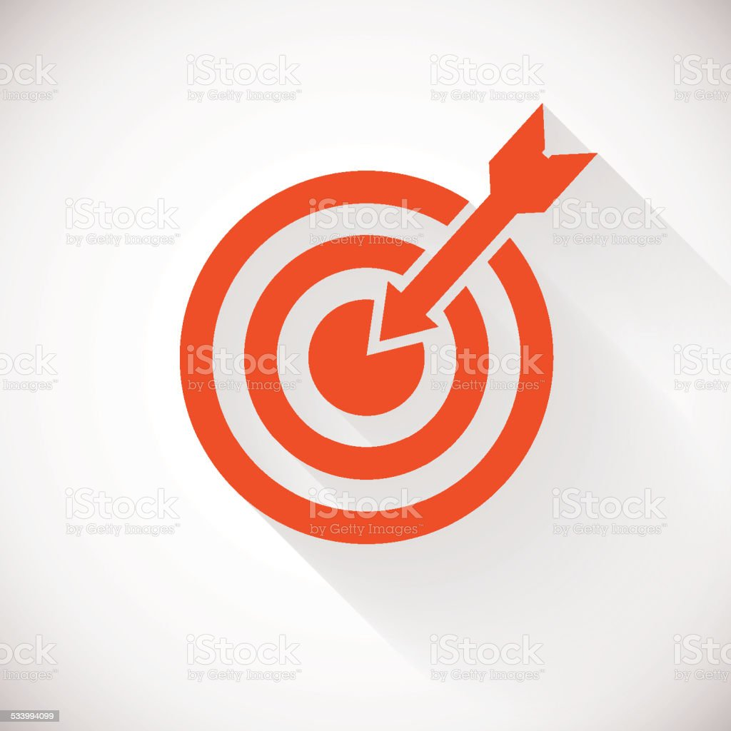 Target icon. Logo concept with long shadow vector art illustration