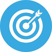 Target icon on a round button.