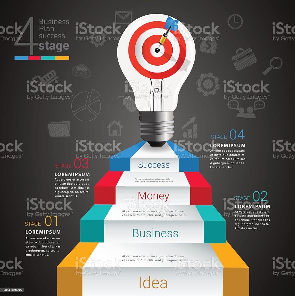Target light bulb idea info graphic. vector art illustration