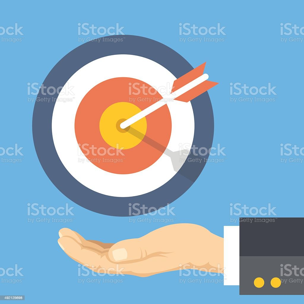 Target marketing. Human palm and target with arrow vector art illustration