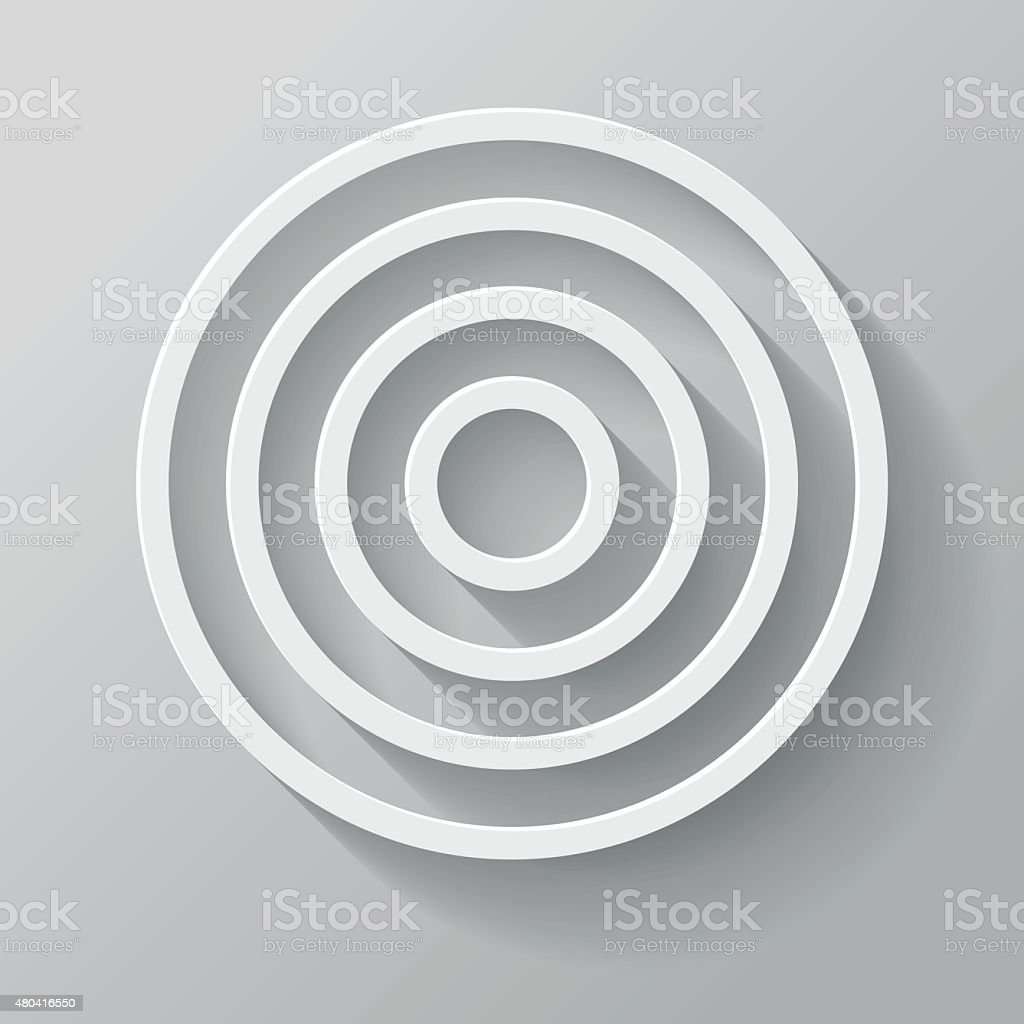 Target Paper Thin Line Interface Icon With Long Shadow vector art illustration