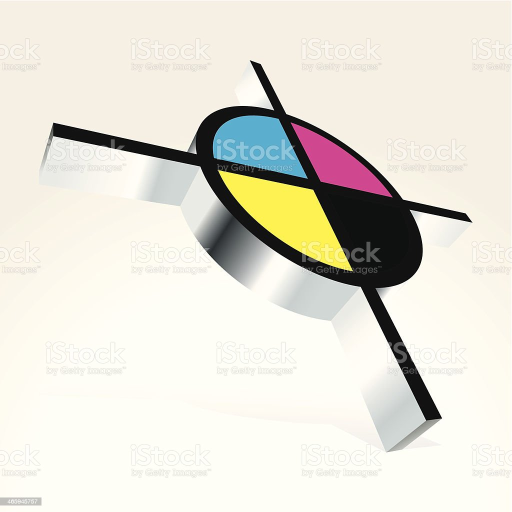 3D CMYK target vector art illustration
