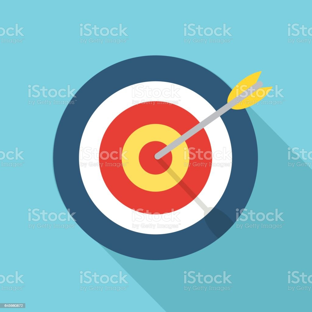 Target with an arrow flat icon concept market goal vector picture image vector art illustration