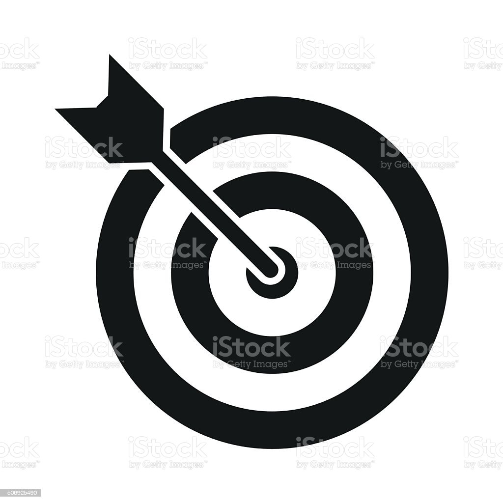 Target with dart black simple icon vector art illustration
