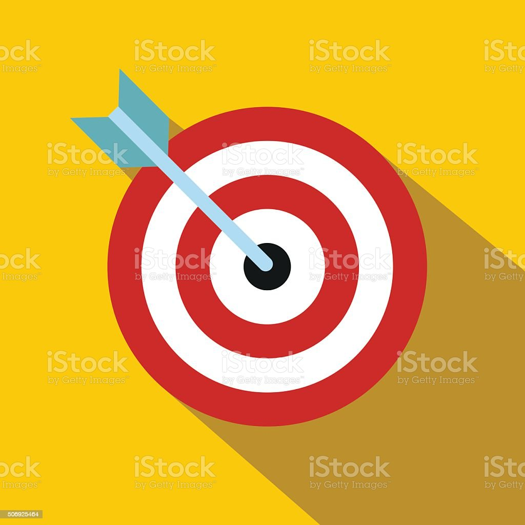 Target with dart flat icon vector art illustration