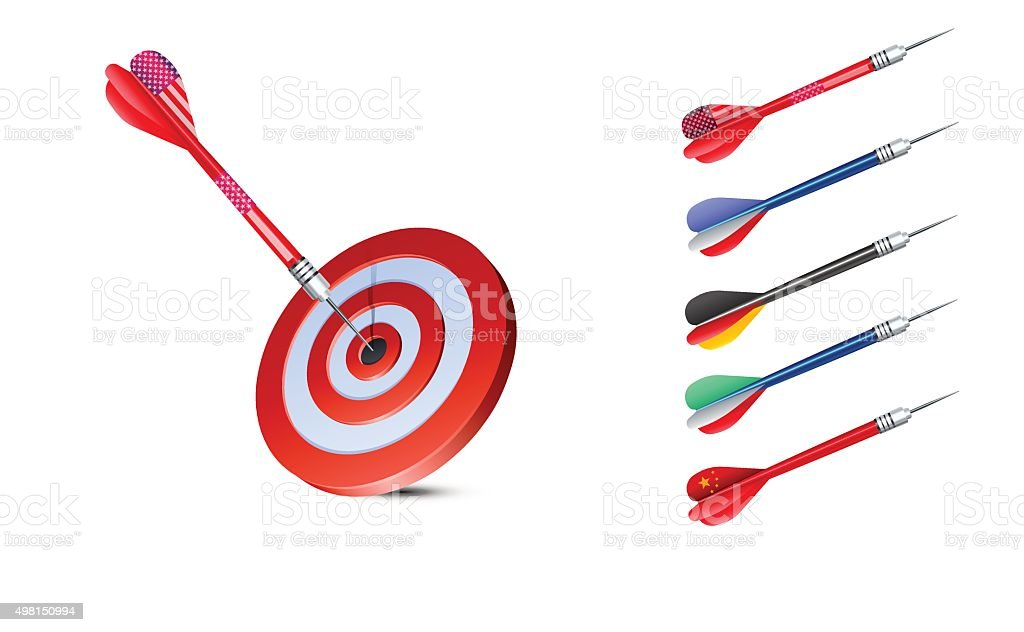 Targets and Countries Darts vector art illustration