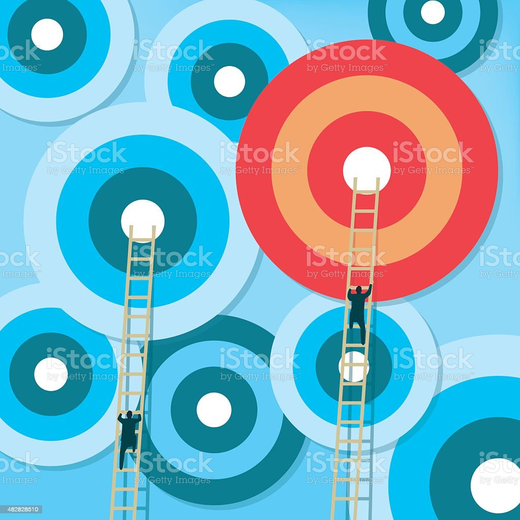 Targets with ladders vector art illustration