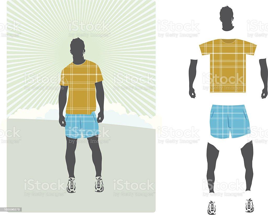 Tartan shorts and shirt royalty-free stock vector art