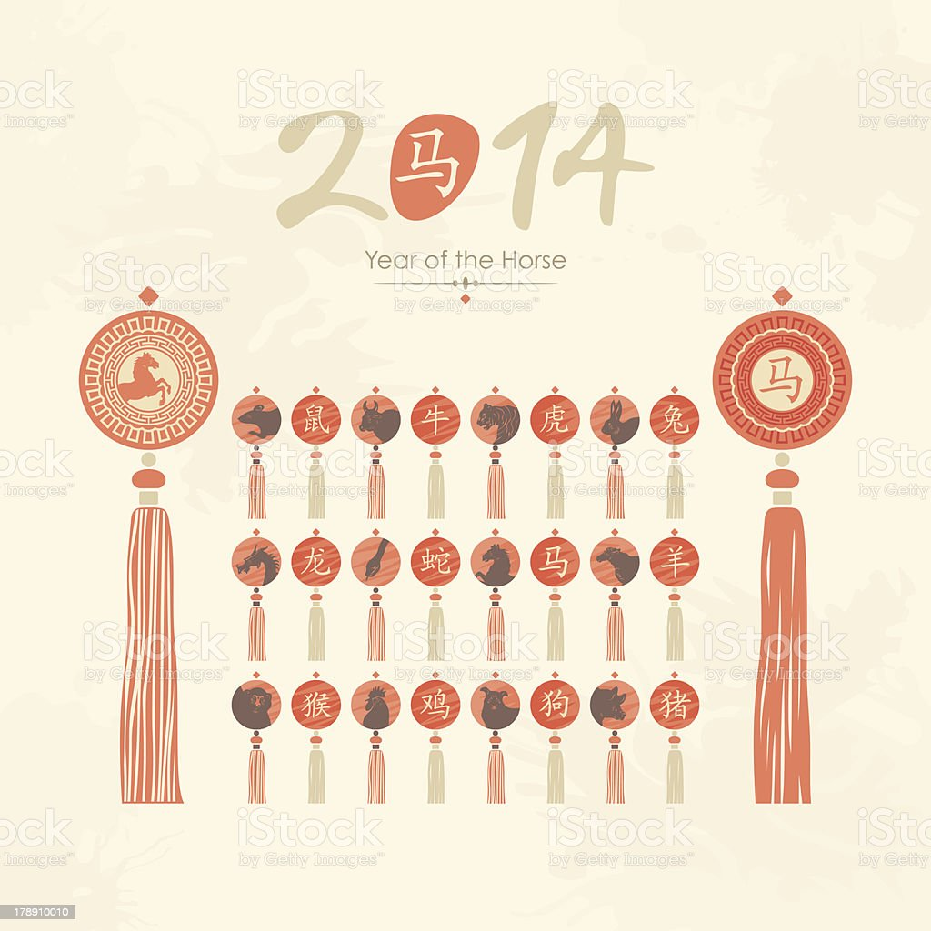 Tassels set with Chinese zodiac signs royalty-free stock vector art