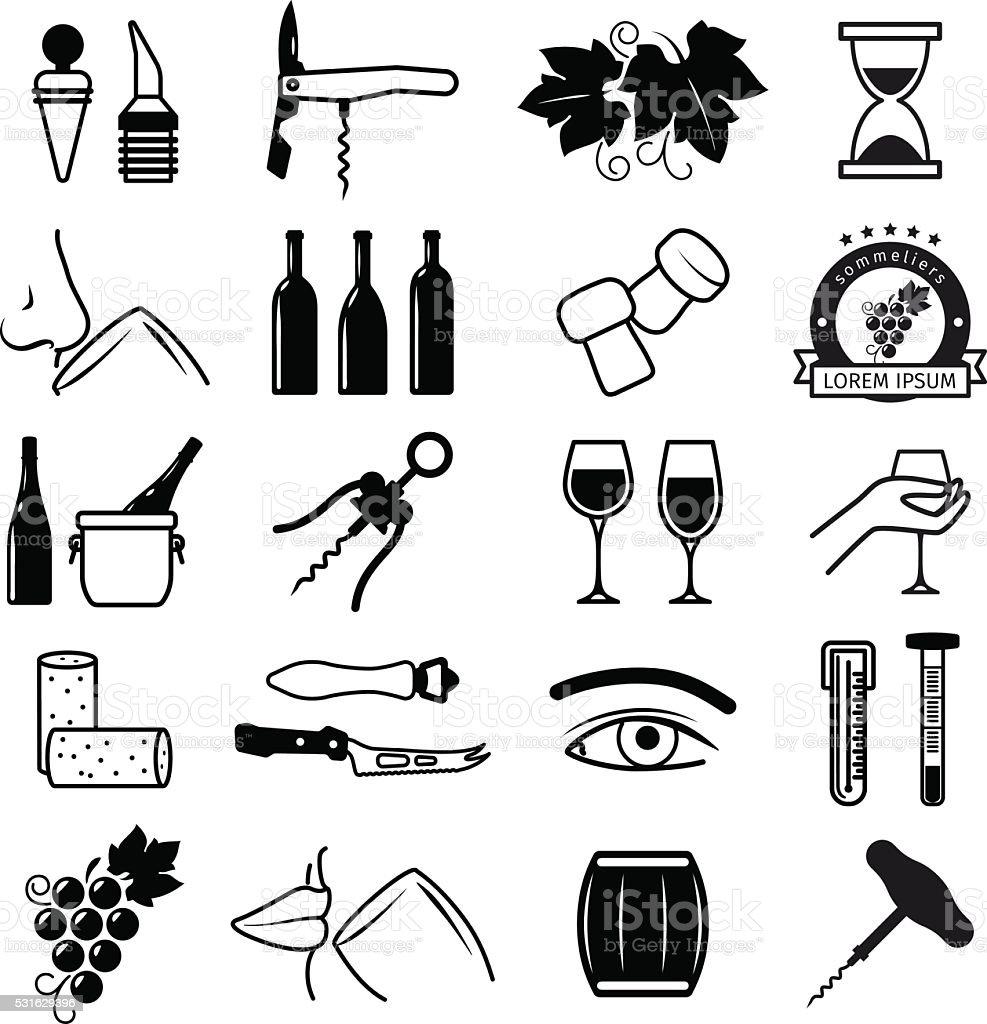 Tasting wine icons vector art illustration