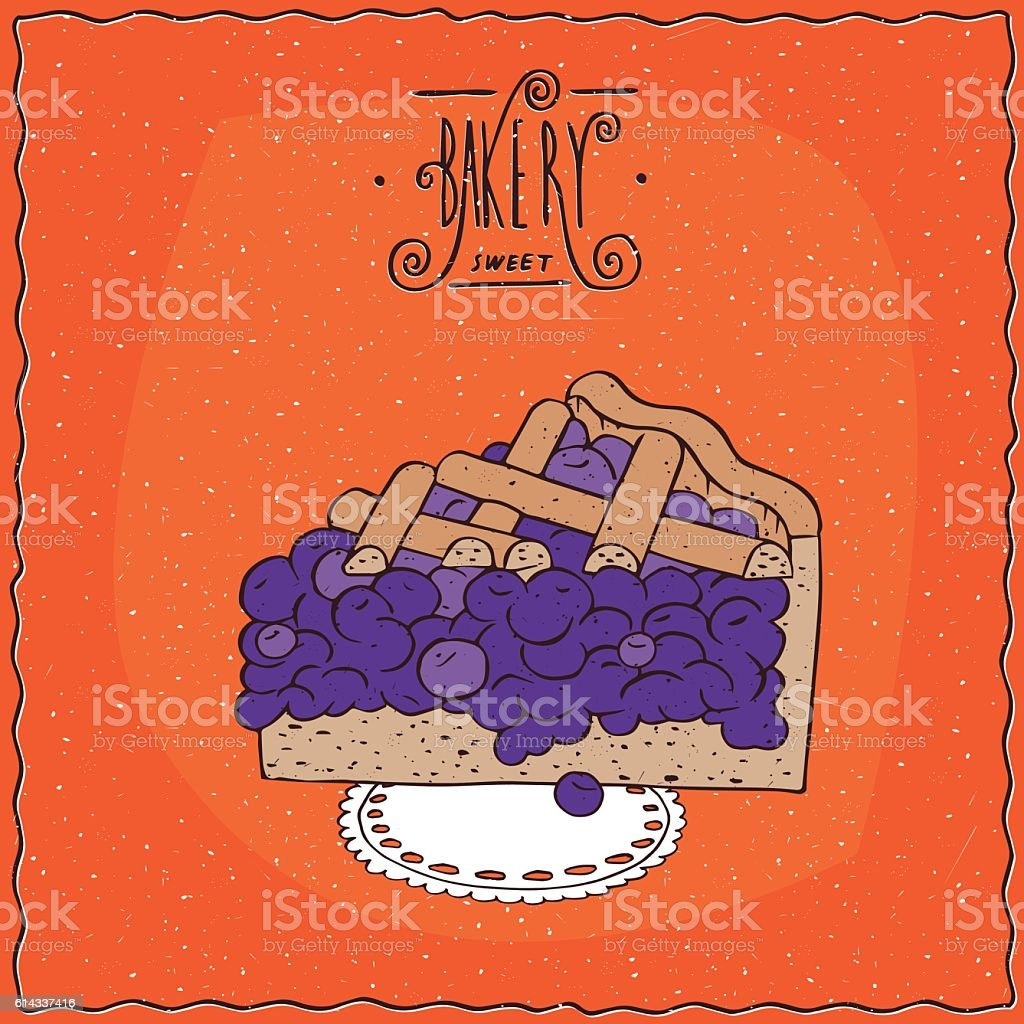 Tasty blue berry pie on lacy napkin vector art illustration