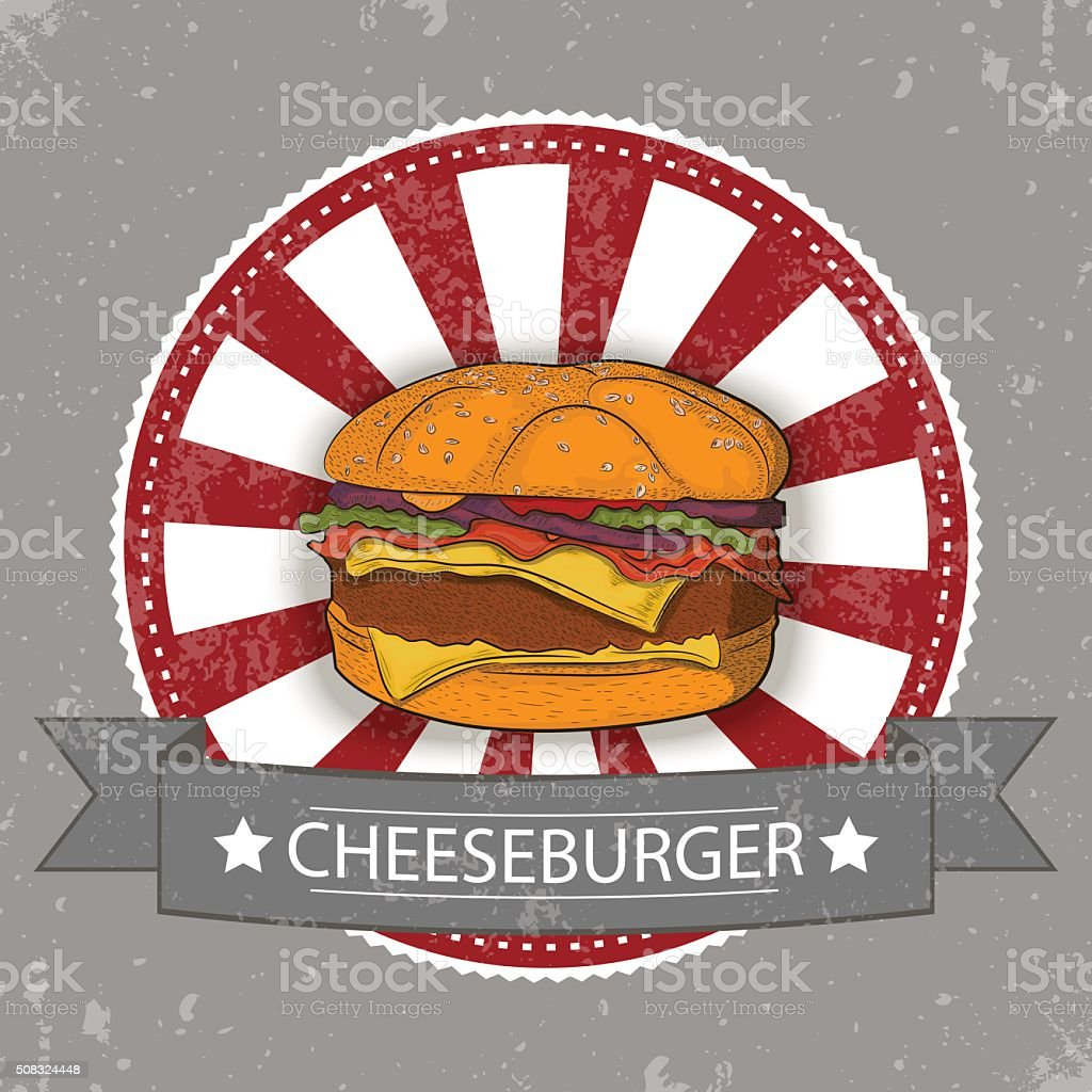 Tasty Burger with vintage badge. royalty-free stock vector art