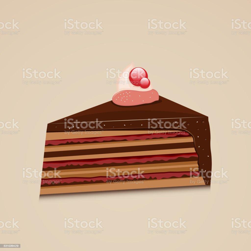 Tasty cake slice. vector art illustration