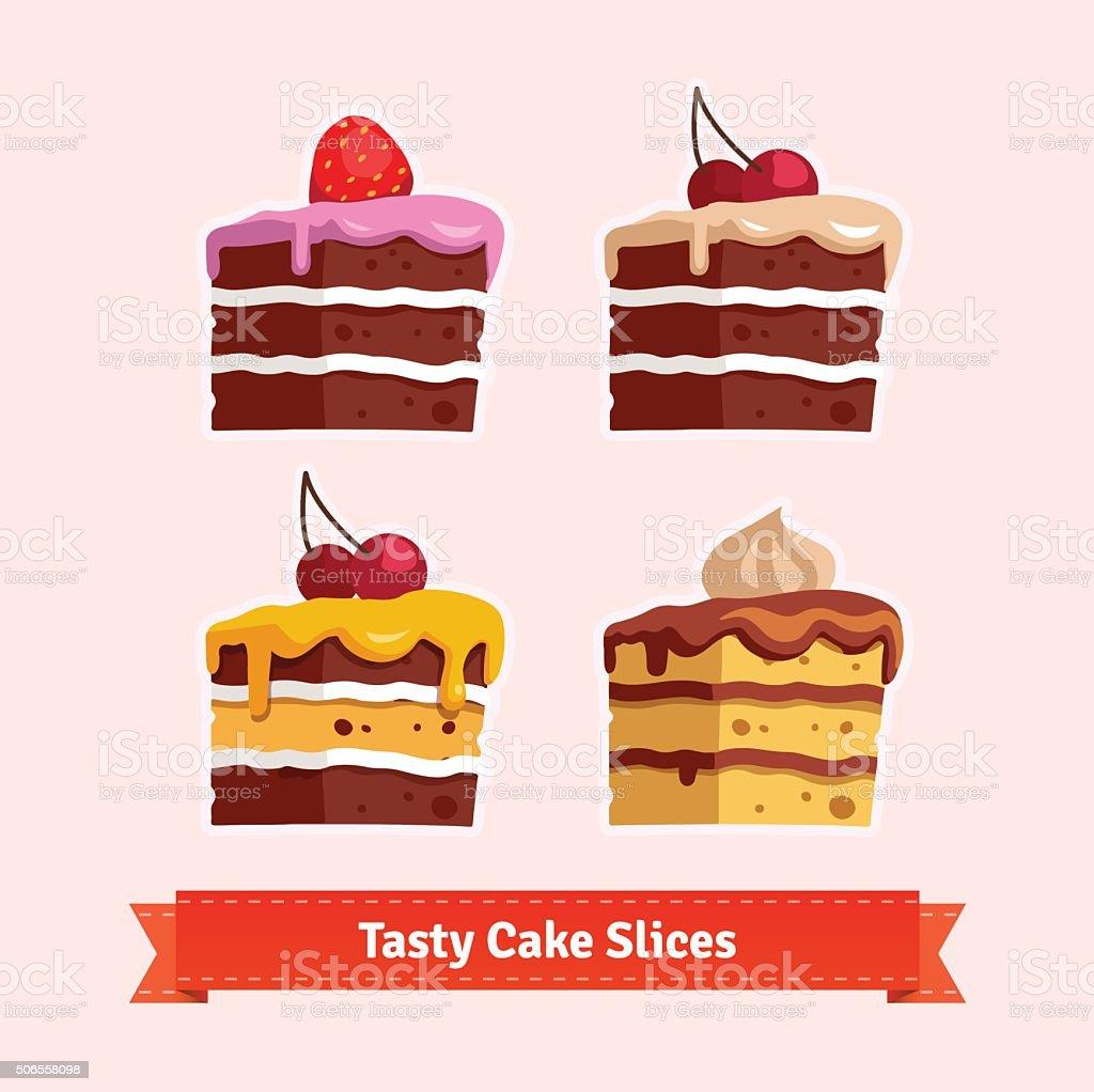 Tasty cake slices vector art illustration