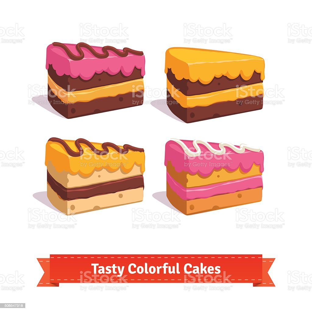 Tasty cake slices with frosting and cream vector art illustration