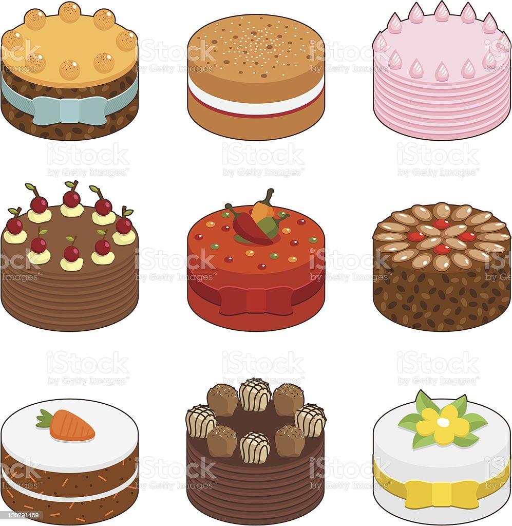 tasty cakes vector art illustration
