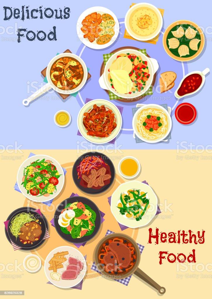 Tasty dishes for dinner menu icon set design vector art illustration