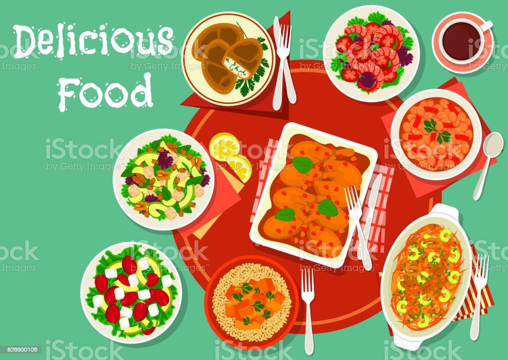 Tasty lunch dishes icon for restaurant menu design vector art illustration