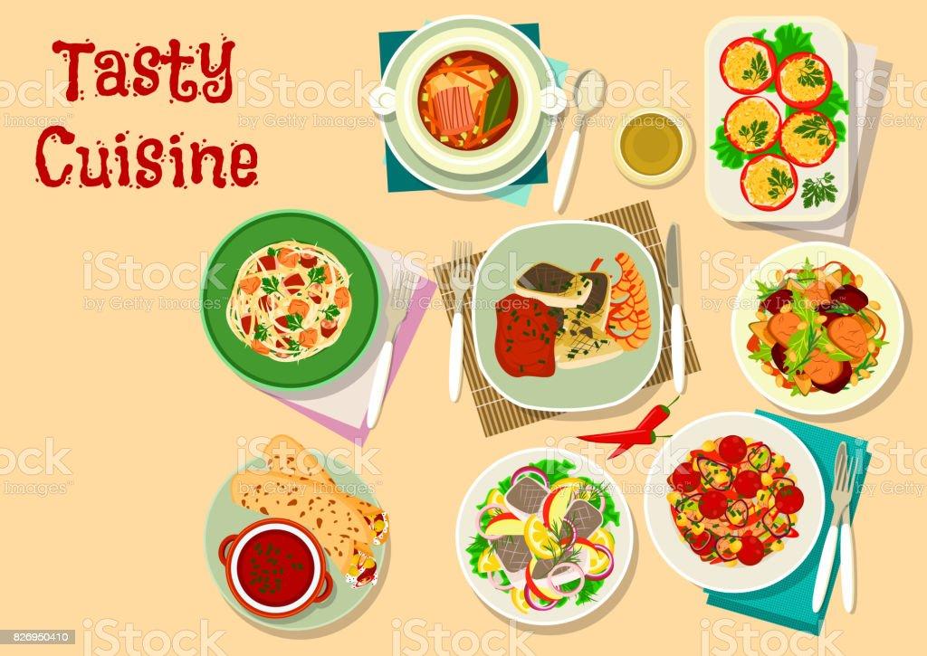 Tasty lunch menu icon for restaurant design vector art illustration