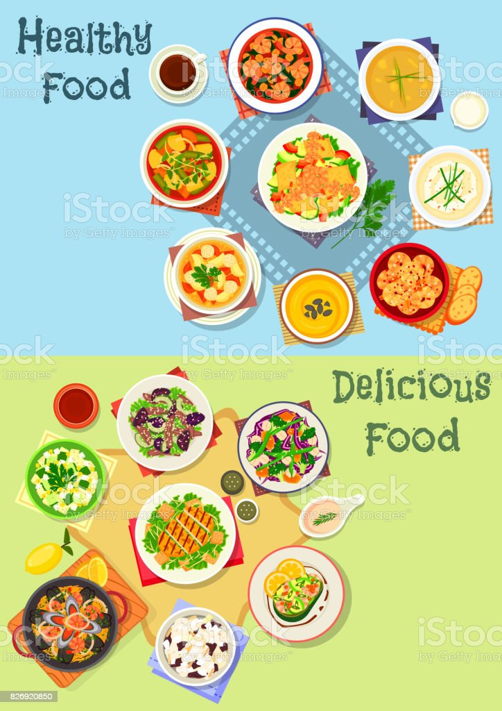 Tasty lunch menu icon set with seafood and meat vector art illustration