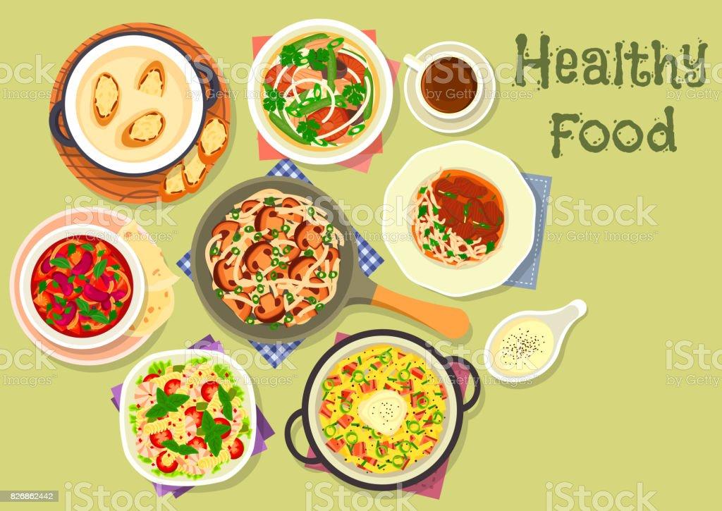 Tasty meals for dinner icon for recipe design vector art illustration