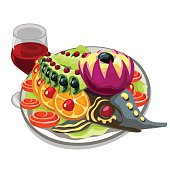 Tasty prepared fish with vegetables and red wine